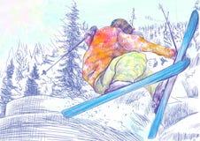 滑雪者-自由的样式滑雪者,窍门 免版税库存照片