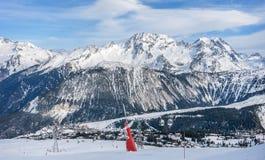 滑雪胜地在Courchevel 1850,法国 库存照片