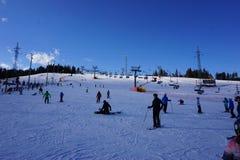滑雪胜地巴尼亚在Bialka Tatrzanska波兰 免版税图库摄影