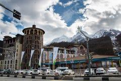 滑雪胜地滑索契山峰城市 库存图片