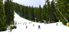 滑雪胜地班斯科,保加利亚,滑雪者,山 图库摄影