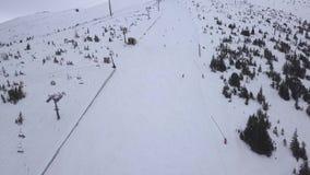 滑雪胜地Jasna斯洛伐克山低Tatras空中寄生虫顶视图4K 股票录像