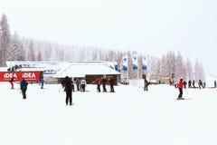 滑雪胜地Kopaonik,塞尔维亚,滑雪者,推力 免版税库存照片