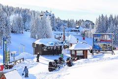 滑雪胜地Kopaonik,塞尔维亚,滑雪者 免版税库存照片
