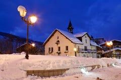 滑雪胜地Megeve在法国阿尔卑斯 库存照片
