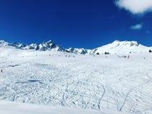 滑雪轨道在Couchevel法国 库存照片