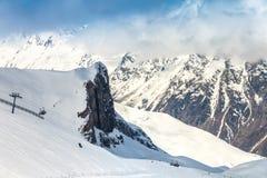 滑雪轨道在Ischgl 图库摄影