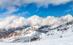 滑雪轨道在Ischgl 免版税库存图片