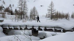 滑雪远足横跨桥梁的孤立人 股票视频