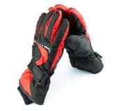 滑雪黑和红色手套 免版税库存照片