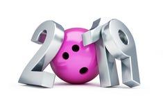 滚保龄球在一个白色背景3D例证的2019个新年, 3D翻译 免版税库存照片