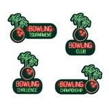 滚保龄球的套霓虹灯广告俱乐部,比赛,挑战,冠军 绿色和红色标志,氖的传染媒介热带收藏 库存照片