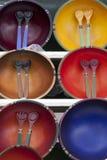 滚保龄球装饰扁平的餐具销售额 库存照片
