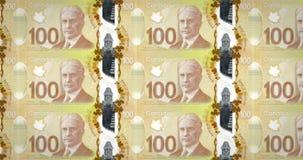 滚动在屏幕,现金金钱,圈的一百加拿大元钞票  皇族释放例证
