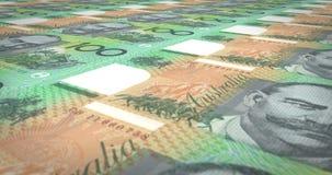 滚动在屏幕,现金金钱,圈的一百澳大利亚元钞票  皇族释放例证