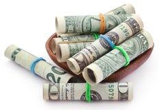 滚动的美元 库存照片