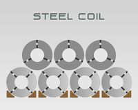 滚动的钢卷皮带,金属板板材产业在工厂仓库里,原材料股票传染媒介 向量例证