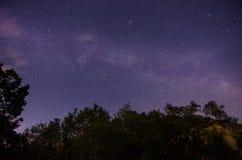 满天星斗的天空和自然风景 免版税图库摄影