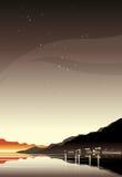 满天星斗的海景 免版税图库摄影