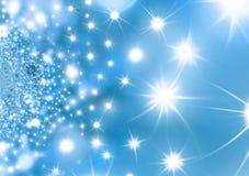 满天星斗背景蓝色的圣诞夜 库存照片