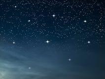 满天星斗蓝色黑暗的晚上 免版税库存照片
