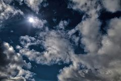 满月剧烈的天空月光午夜蓝天白色覆盖明亮的太阳背景 HDR样式处理 鸟瞰图 图库摄影