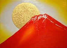 满月和富士山在晚上 免版税库存图片