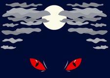 满月和红色眼睛 库存照片
