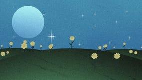 满月星和花在Papercut动画 向量例证