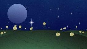 满月星和花在Papercut样式 库存例证