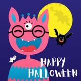 满月,棒,逗人喜爱的妖怪,邪恶的南瓜,鬼魂为万圣夜集会 向量例证