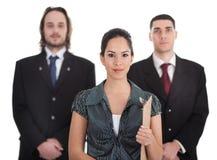 满足三个走的年轻人的企业同事 库存图片