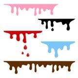 滴下的五颜六色的液体 焦糖,墨水,血液,水,巧克力 ?? 皇族释放例证