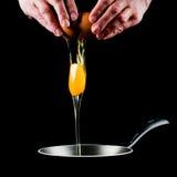 滴下的平底锅卵黄质 图库摄影