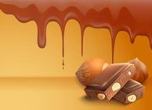 滴下的熔化的巧克力背景 免版税库存照片