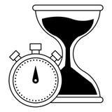 滴漏沙子定时器在黑白的象动画片 向量例证
