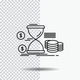滴漏,管理,金钱,时间,硬币排行在透明背景的象 r 向量例证
