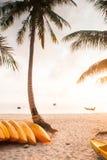 漂亮时代,在海的太阳设置 黄海在沙滩和椰子前景,地方渔船划皮船和 免版税库存图片