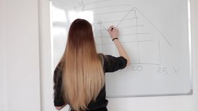 年轻漂亮的女人得出在白板的图表有标志的解决等式 股票录像