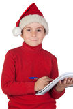 漂亮的孩子圣诞节他的信函文字 免版税库存照片