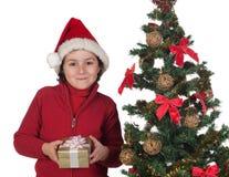 漂亮的孩子圣诞节礼品结构树 库存图片