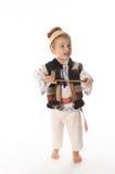 漂亮的孩子画象有传统民间服装的 免版税库存照片