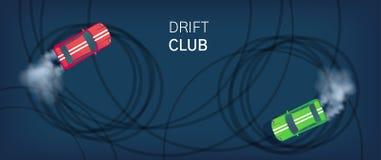 漂泊俱乐部海报或网横幅 漂移在赛马跑道的跑车 Motorsport竞争 顶视图平的样式传染媒介 向量例证