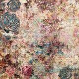 漂泊吉普赛花卉古色古香的与玫瑰的葡萄酒脏的破旧的别致的艺术性的抽象图解背景 库存图片
