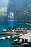 漂流在Chiew Suratthani省的, Thailan Lan湖的竹子 免版税库存照片