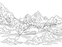 漂流小船旅行图表黑白色风景剪影例证传染媒介 库存例证