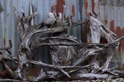 漂流木头遭难船 库存图片