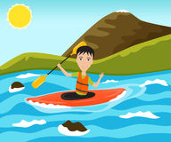 漂流的和划皮船的体育 库存图片