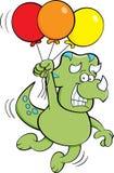 漂浮动画片的恐龙拿着气球 库存照片
