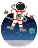 漂浮在与星的空间的宇航员 库存图片